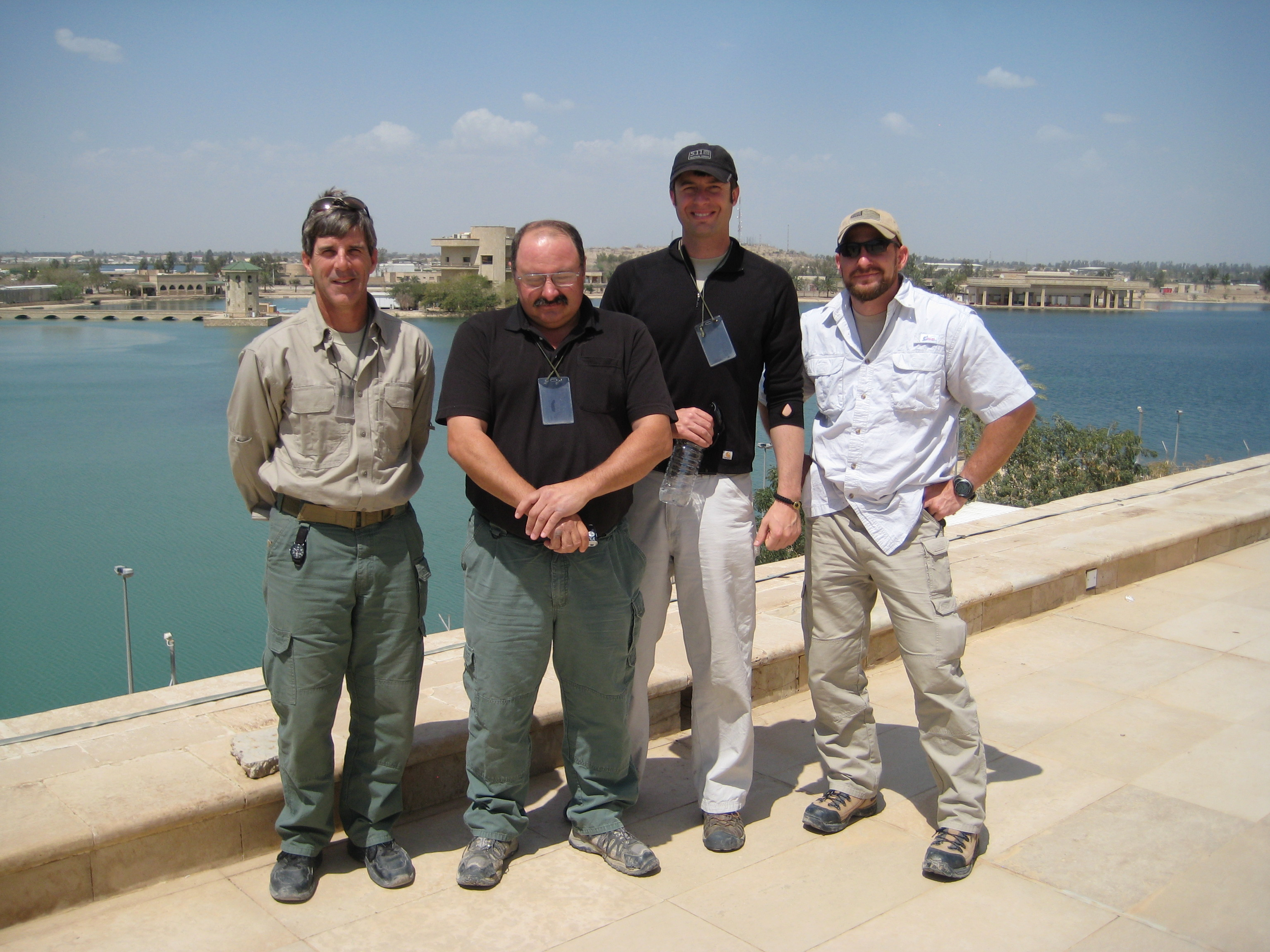Driving instructors (from L to R) Peter Zekert; Don Barrack (lead instructor); Shawn Lewis; and Scott Haines Baghdad Iraq March 2009 & High Threat Driver Training